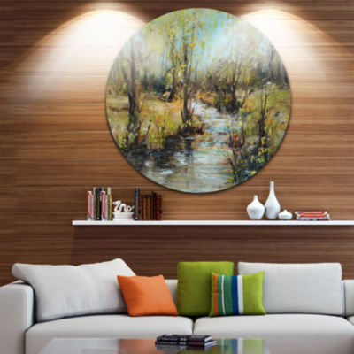 Designart Creek and Woods Oil Painting Landscape Painting Circle Metal Wall Art