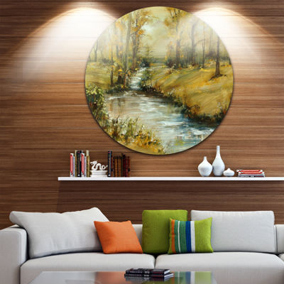 Designart Brook in Autumn Oil Painting Landscape Painting Circle Metal Wall Art