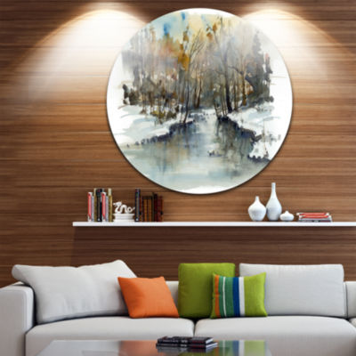 Designart River in Woods Watercolor Landscape Painting Circle Metal Wall Art