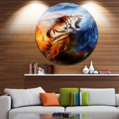 Designart Gentle Tiger Portrait Collage Animal Circle Metal Wall Art