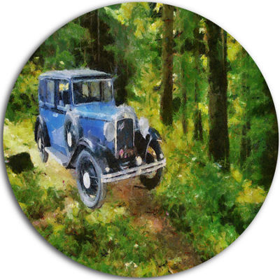 Designart Blue Vintage Car Oil Painting Cars Circle Metal Wall Art