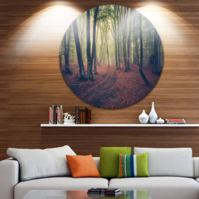 Designart Green Trees in Autumn Forest Landscape Photography Circle Metal Wall Art