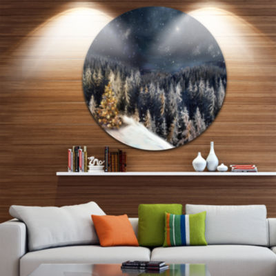 Designart Night Forest Christmas Tree Landscape Circle Metal Wall Art