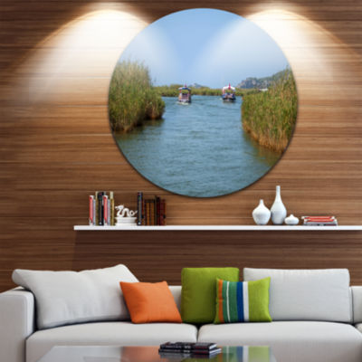 Designart Touristic River Boats Landscape Photography Circle Metal Wall Art