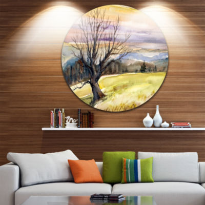 Designart Tree Without Leaves at Sunset Trees Painting Circle Metal Wall Art