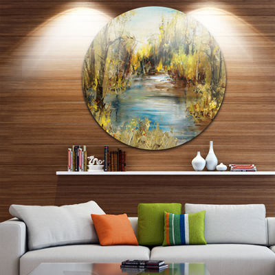 Designart Lake in Forest Oil Painting Landscape Painting Circle Metal Wall Art