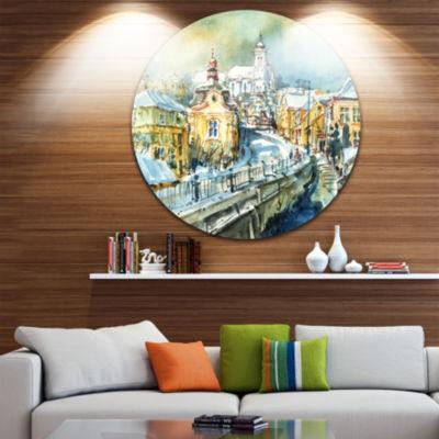 Designart City of Churches Watercolor Cityscape Painting Circle Metal Wall Art