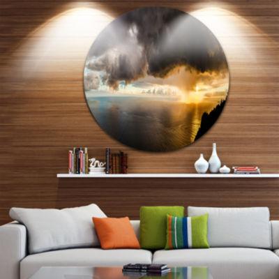 Designart Storm Dark Could at Sunset Landscape Photography Circle Metal Wall Art
