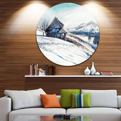 Designart Winter Mountains Watercolor Landscape Painting Circle Metal Wall Art
