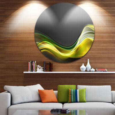 Designart Green Gold Texture Pattern Abstract Circle Metal Wall Art