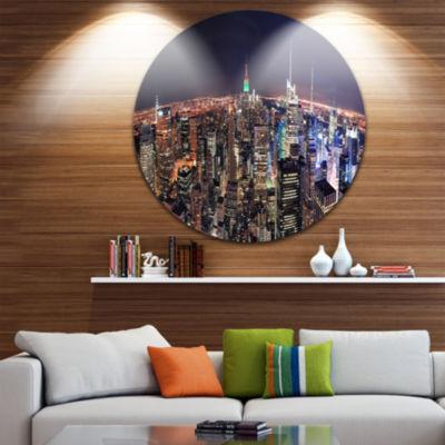 Designart NYC Manhattan Aerial View Cityscape Photo Circle Metal Wall Art