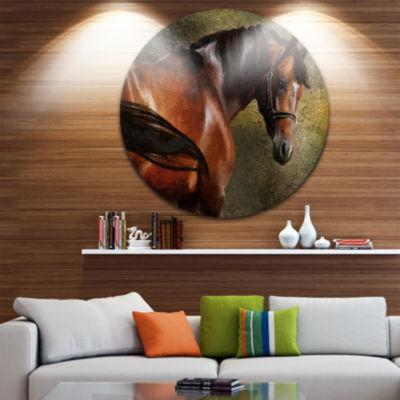 Designart The Thoroughbred Animal Photography Circle Metal Wall Art