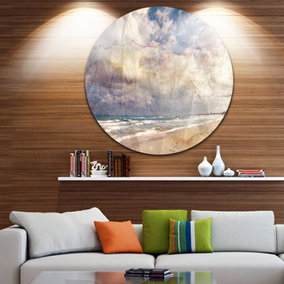 Designart Retro Ocean Watercolor Seascape PaintingCircle Metal Wall Art