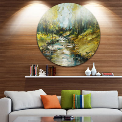 Designart Creek in the Forest Oil Painting Landscape Painting Circle Metal Wall Art