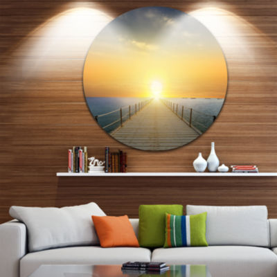 Designart Ocean Sunset with Pier Seascape Circle Metal Wall Art