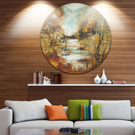 Designart Brown River in Forest Landscape PaintingCircle Metal Wall Art