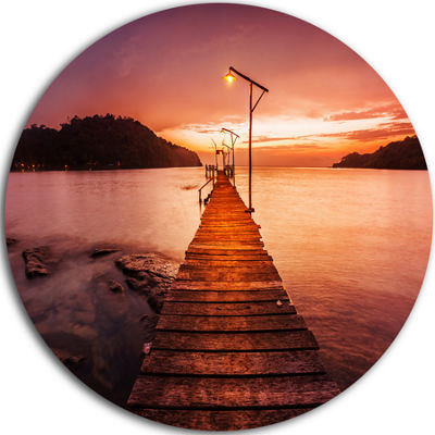 Designart Sunset Over Purple Sea Seascape Circle Metal Wall Art