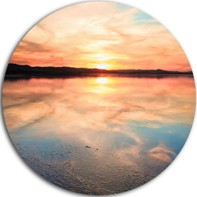 Designart Sensational Sunset in Australia SeascapeCircle Metal Wall Art