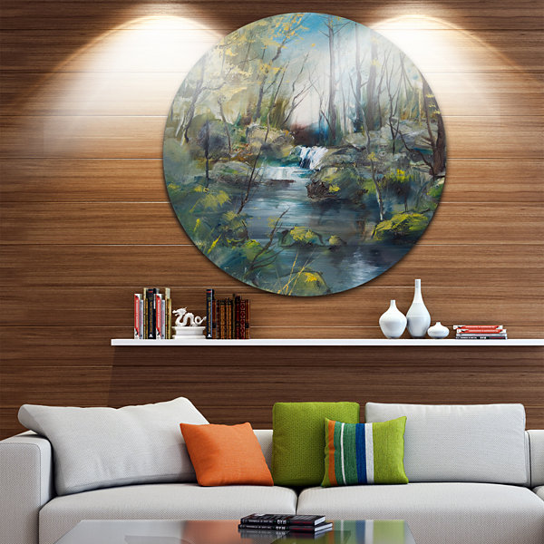 Designart Brook and Rocks Oil Painting Landscape Painting Circle Metal Wall Art