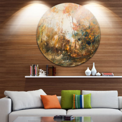 Designart Forest in Autumn Oil Painting LandscapePainting Circle Metal Wall Art