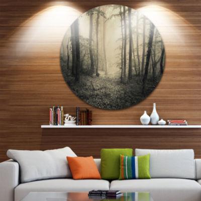 Designart Vintage Style Spring Forest Landscape Photography Circle Metal Wall Art