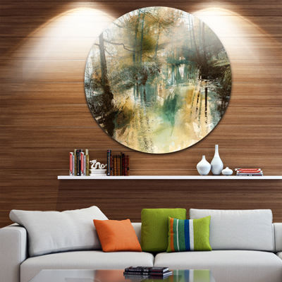 Designart River and Trees Oil Painting Landscape Painting Circle Metal Wall Art