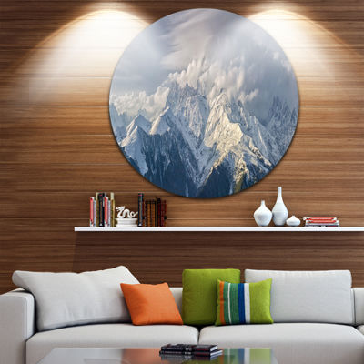 Designart Ushba Peak in Clouds Landscape Photography Circle Metal Wall Art