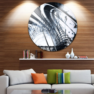 Designart 3D Abstract Art Black Structural Abstract Circle Metal Wall Art
