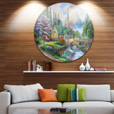 Designart Church in Forest Oil Painting LandscapePainting Circle Metal Wall Art