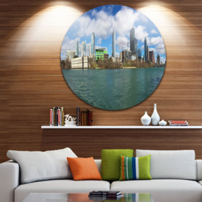 Designart Austin Skyline on Sunny Day Cityscape Photo Circle Metal Wall Art