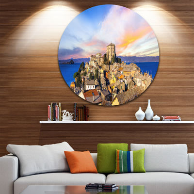 Designart Medieval Village Capodimonte Landscape Photography Circle Metal Wall Art