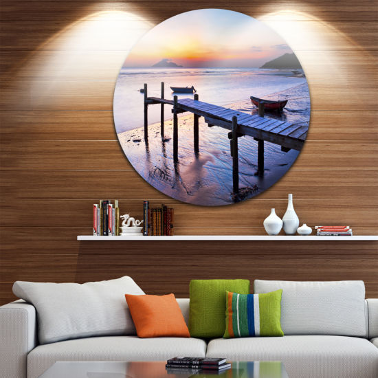 Designart Old Wooden Pier at Sunset Seascape Circle Metal Wall Art