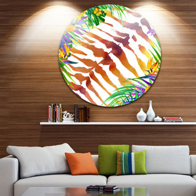 Designart Wild Nature Watercolor Landscape Painting Circle Metal Wall Art