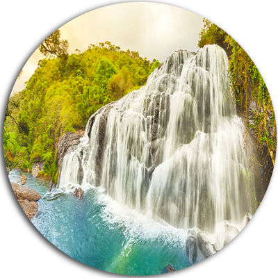 Designart Bakers Falls Panorama Landscape Photography Circle Metal Wall Art