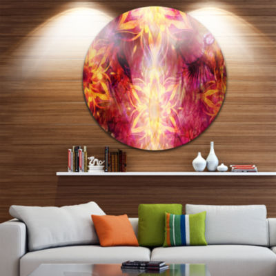 Designart Titmouse Birds and Golden Mandala LargeAbstract Circle Metal Wall Art