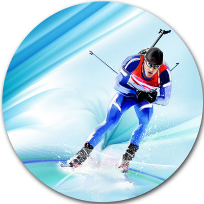 Designart Extreme Male Skier Portrait Circle MetalWall Art
