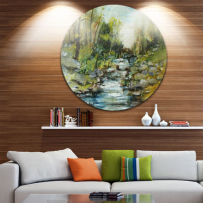 Designart Rocky Terrain with Creek Landscape Painting Circle Metal Wall Art