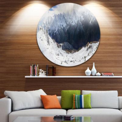 Designart Winter Mountain in Svaneti Landscape Photography Circle Metal Wall Art