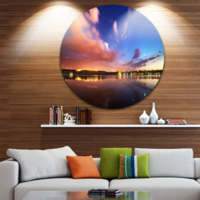 Designart Delighted Reflection in River LandscapePhotography Circle Metal Wall Art