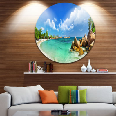 Designart Seychelles Islands Panorama Landscape Photography Circle Metal Wall Art