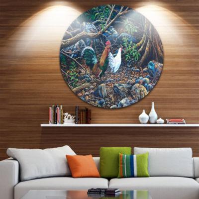 Designart Jungle Fowl in Forest Landscape Circle Metal Wall Art