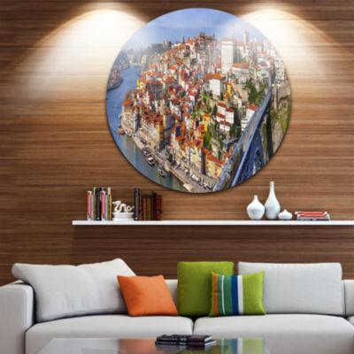 Designart Porto City Panoramic View Cityscape Photo Circle Metal Wall Art