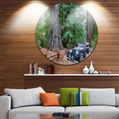 Designart Vintage Car in Forest Landscape PaintingCircle Metal Wall Art