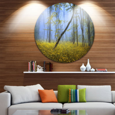 Designart Vintage Style Colorful Forest LandscapePhotography Circle Metal Wall Art