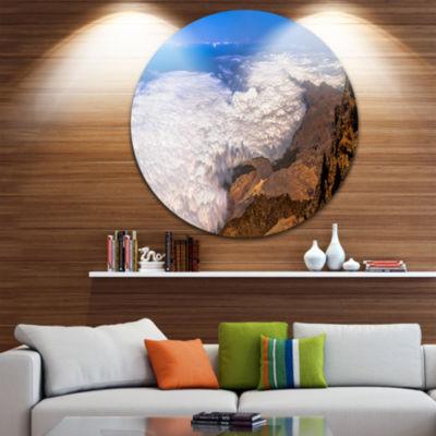Designart Teide View Panoramic Seascape Circle Metal Wall Art