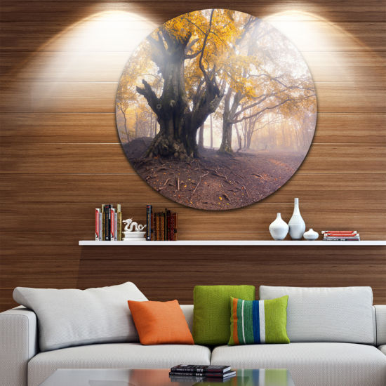 Designart Dark Tree with Yellow Leaves Landscape Photography Circle Metal Wall Art
