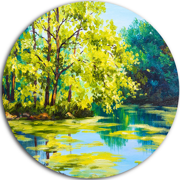 Designart Blue Lake Under Green Tree Landscape Painting Circle Metal Wall Art