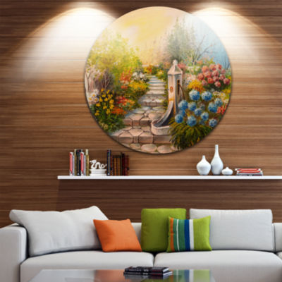Designart Stone Stairs in Forest Landscape Painting Circle Metal Wall Art