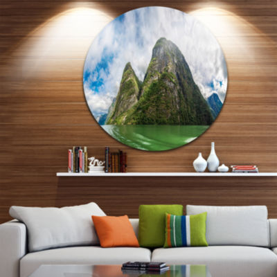 Designart View to Sognafjord in Norway Landscape Photography Circle Metal Wall Art