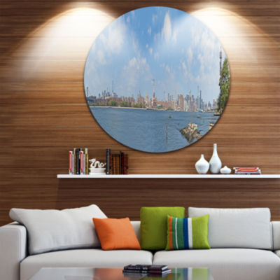 Designart New York Skyline from East River Side Cityscape Circle Metal Wall Art